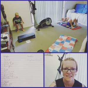 Fitting in a home workout, with her children